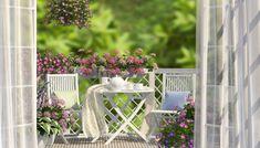 Balcony, white furniture and flowers Wicker Furniture, White Furniture, Cool Furniture, Outdoor Furniture Sets, Outdoor Decor, Balcony Flowers, Balcony Plants, Balcony Bench, Modern Balcony