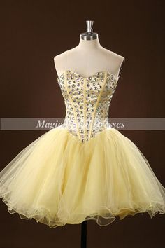 Classical Sweetheart Design Short/Mini Prom Dress Light Daffodil Prom Gown 2015 Fashion Style A-line Shining Rhinestones Cocktail Dress