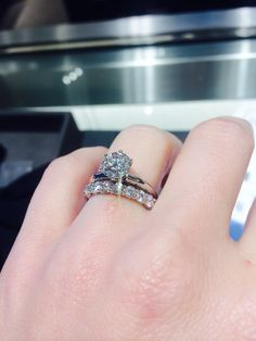 1.28 Solitaire with 3 mm shared prong band ring  Show me your solitaire engagement ring w/ wedding band! - Weddingbee | Page 11