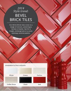 tiles White 2014 Tile Trend - metro tiles, like our gorgeous Bevel Brick range, are versatile and can create a modern look or a country kitchen feel. Red Kitchen Tiles, Red Tiles, Kitchen Colors, Kitchen Flooring, New Kitchen, Kitchen Backsplash, Kitchen Design, Country Kitchen, Brick Tiles