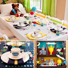 Over the Moon: A Goodnight Moon Baby Shower. Easy to reproduce bedtime table. #DIY #babyshower