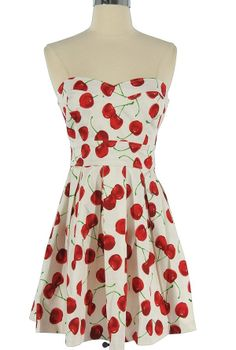 Cheerful Cherry White Strapless Dress    www.lilyboutique.com