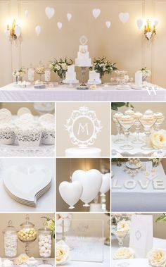 Create An Amazing Cake & Dessert Buffet Table!  We sell all the supplies including the filigree cupcake wrappers, floating monogram cake topper,  mini martini glasses, heart-shaped plates, love serving plates, apothecary jars, and self-standing goodie bags.