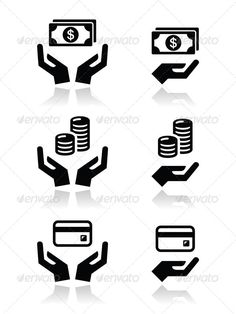 Hands with Money vector Icons Set   #GraphicRiver         Hands holding money, credit card, coins black icons set isolated on white  FEATURES:   100% Vector Shapes  All groups have names  All elements are easy to modify – you can change coulours, size  Pack include version AI, EPS, JPG      Created: 28June13 GraphicsFilesIncluded: JPGImage #VectorEPS #AIIllustrator Layered: No MinimumAdobeCSVersion: CS Tags: bank #banknote #black #business #buy #change #coins #creditcard #debitbard #dollar…
