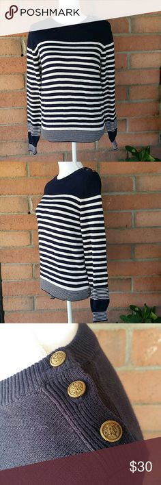 """UO~BDG  Navy Blue/White Stripe Sweater Sz. M NWT Urban Outfitters BDG Navy Blue / White stripe long sleeve sweater. 100% Cotton. Bronze color buttons.  Measurements:  Chest laying flat ~ 18""""  Sleeve length ~ 25""""  Length ~ 23.5"""" BDG Sweaters Crew & Scoop Necks"""
