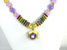 Girls Lavendar LOCKET Necklace With a Solid GOLD Brass Crystal embellished Hexagon Hand Crafted by Chris of ChildWithStyle, $25.75