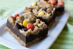 Peanut Butter Fudge Oatmeal Bars, although I would substitute heavy cream for the condensed milk...