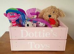Wooden Crate, Toy Crate, Toy Storage, Book Box, Personalised Crate, Painted Crate, Personalised Toy Box, Storage Box, Stacking Crate, by FioreCrafts on Etsy Toy Storage, Storage Chest, Personalised Toy Box, Toy Boxes, Toy Chest, Crates, Toys, Handmade Gifts, Design