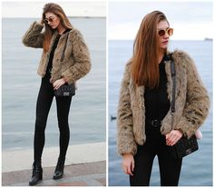 Get this look: http://lb.nu/look/7996538  More looks by Yulia Sidorenko: http://lb.nu/yuliasi  Items in this look:  La Redoute Fur Coat, Wholesalebuying  Bag, Dresslink Lace Up Top, Bershka Belt, Pull & Bear Jeans, Zara Boots, Sinsay Sunglasses   #casual #chic #street #streetstyle #fashionblogger #blogger #russianblogger #fur #furcoat