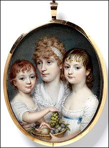 Hayters portrait of an Unknown Woman and Two Children was painted in London. The sitters husband was a purser in the East India Companys service.