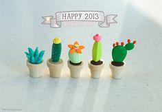 Polymer Clay Cactus Garden. Great idea for kid's Fairy Garden.