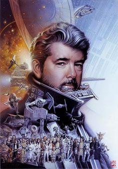 Star Wars - George Lucas tribute by Tsuneo Sanda Star Wars Fan Art, Star Trek, Starwars, Millenium, Star Wars Celebration, Star Wars Wallpaper, George Lucas, Star Wars Poster, Love Stars