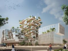 Image 1 of 7 from gallery of Jean-Paul Viguier Designs a Mixed-Use Timber Frame Tower in Bordeaux. Courtesy of Jean-Paul Viguier et Associés