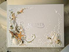 Beach wedding guest book and pen 11x 10 or 6x8.5 by PureBeautyArt