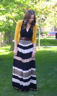 Taking a maxi dress into the Fall season with a leather belt + mustard cardigan. LOVE this look :)) via Price Price Price's art Casual Skirt Outfits, Modest Outfits, Modest Fashion, Cute Outfits, Maternity Outfits, Women's Fashion, Fashion Styles, Fashion Ideas, Summer Outfits