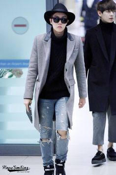 JHope looks so stylish and cool, and then you see V xD