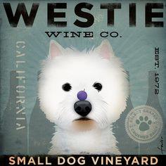 westie wine company original illustration graphic art on canvas.
