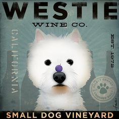 Westie Wine Company original illustration giclee archival print 12 x 12. $39.00, via Etsy.