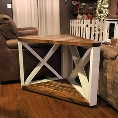 home furniture diy Diy House Projects, Furniture Projects, Diy Furniture, Farmhouse Furniture, Cowhide Furniture, Farmhouse End Tables, Rustic End Tables, Western Furniture, Plywood Furniture