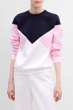 Imeely Pink Pullover Color Block Sweatshirt | Sweatshirts at DEZZAL