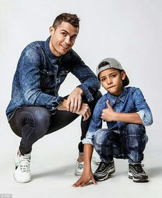 Footballer Cristiano Ronaldo and Cristiano Jr Rock Matching Denim To Promote Their New Clothing Campaign (Photos) Cristiano Ronaldo 7, Cr7 Ronaldo, Messi Vs, Lionel Messi, Cr7 Portugal, Cr7 Jr, Ronaldo Skills, Portugal National Football Team, Cr7 Junior