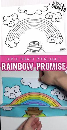 A Rainbow – God's promise to Noah Bible Activities For Kids, Bible Crafts For Kids, Preschool Bible, Bible Study For Kids, Bible Lessons For Kids, Paper Crafts For Kids, Preschool Crafts, Bible Stories For Kids, Sunday School Crafts For Kids