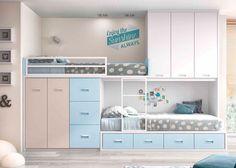 Habitación Infantil: Dormitorio infantil con 2 camas tipo Tren | Dormitorio infantil con 2 camas tipo Tren. La cama inferior es un nido de 4 cajones. En la parte alt