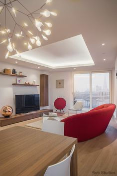 Flat in the city 02 modern living room by yam studios modern Apartment Interior, Living Room Interior, Modern White Living Room, Modern Interior, Interior Design, Interior Ideas, House Layout Plans, Ceiling Light Design, Living Room Inspiration