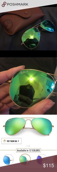Aviator Flash Lenses in Green Flash - POLARIZED Aviator Flash Lenses in Green Flash Ray-Ban Accessories Sunglasses