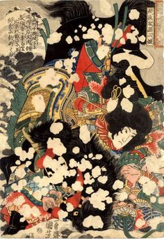 Japanese name:   Boyasha Sonjirô (母夜叉孫二娘)   Chinese name:   The goodwife Sun   Scene: Boyasha Sonjirô, the Amazon,   binding an opponent whom she has overthrown together with his horse in the   snow; she was the wife of Saiyenshi Chôsei