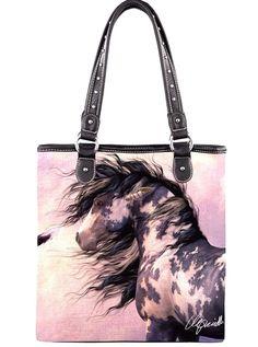 Montana West~Western~Blk Wh Horse Art~Travel~Canvas~Zip Top~Shop Tote Bag~Purse #Unbranded
