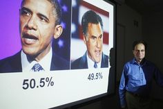 Emory professor Alan Abramowitz poses in front of a slide predicting President Barack Obama as winning the 2012 U.S. Presidential election at Emory University in Atlanta, Georgia, July 27, 2012. Abramowitz, one of the most accurate forecasters of the 2012 US Presidential Election Predictions