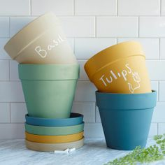 Chalkboard Planters in 5 colors — perfect for Spring!