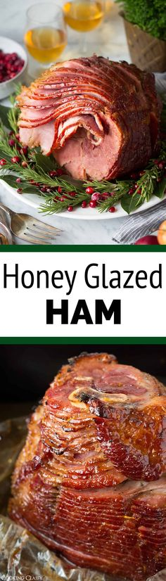 An amazingly delicious holiday ham! Baked in an oven bag and cooked at a low temperature so you don't end up with dry slices. And that sweet honey glaze is the perfect finish