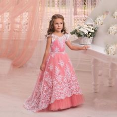 Adorable Cap short Sleeves holy communion dresses White Lace Watermelon Flower Girl Dresses pageant dresses for little girls Wedding Party