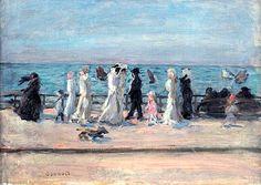 Au Bord De La Mer, Or Les Promeneurs Sur La Digue, Or La Plage by Pierre Bonnard (France)