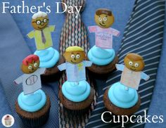 """Welcome to Cupcake Tuesday! Be sure to check out the ALL NEW Cupcake Heaven page! And if you are in need to a special cupcake design, use the """"Be a Hero"""" area! With Father's Day this weekend, I've been trying to come up. Yummy Cupcakes, Cupcake Cookies, Mother And Father, Father Sday, Mothers, Fathers Day Cupcakes, Cupcake Tutorial, Cupcake Heaven, Cupcake Recipes"""