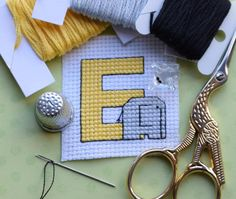 Free E is for Elephant cross stitch pattern | Craftsy
