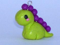 Kawaii Polymer Clay Charm Li'l Dinosaur by chibidropshop on Etsy, $4.00