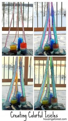 Creating Colorful Icicles -- This looks like such a fun winter learning opportunity for kids!