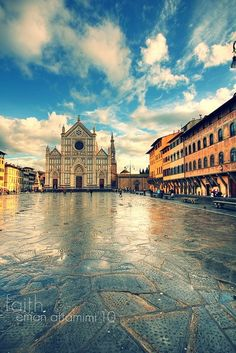 Piazza Santa Croce in Florence for family vacation - April 2015