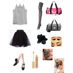 After Ballet Pratice by benue on Polyvore featuring polyvore fashion style Uniqlo Bloch Dance Herschel Supply Co. Victoria's Secret PINK Black Orchid AERIN