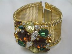 Exceptional Signed Hobe  Rhinestone Medallion Mesh Bracelet and Earrings