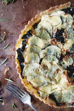 // Rosemary potato kale tart
