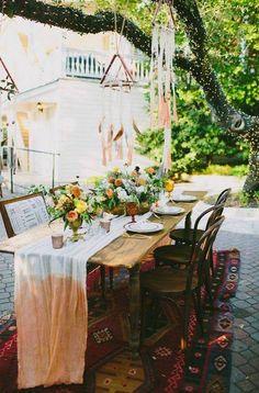 boho interior design outdoor dining area