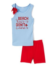 Light Blue 'Beach Hair Don't Care' Tank & Shorts - Infant Toddler & Girls