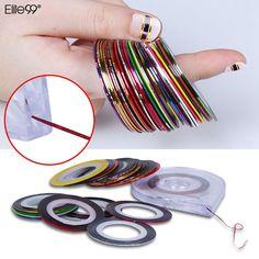 Elite99 1 대/30 개 롤 네일 스트라이핑 테이프 라인 1 라인 케이스 도구 네일 아트 장식 스티커 DIY 무료 배송