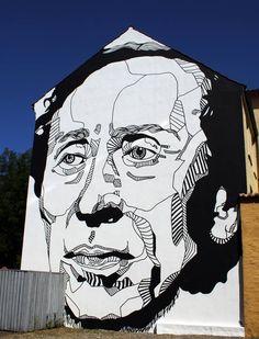 Portrait of Hans Christian Anderson. Street art by Don John in Odense, Denmark. Street Art Banksy, Street Art News, Best Street Art, Street Artists, Don John, Hans Christian, L'art Du Portrait, Urbane Kunst, Brooklyn