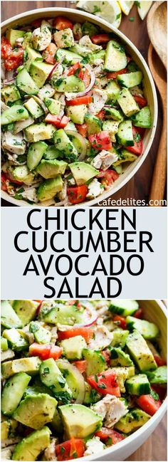 Quick And Simple Chicken Cucumber Avocado Salad is so easy to make! A perfect sa… Quick And Simple Chicken Cucumber Avocado Salad is so easy to make! A perfect salad to throw together at any time of the day with NO COOKING! Cucumber Avocado Salad, Avocado Salat, Chicken Avocado Salad, Avocado Salad Recipes, Food With Avacado, Simple Salad Recipes, Avocado Chicken Recipes, Quick And Easy Recipes, Cucumber Ideas