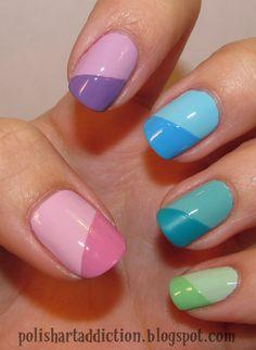 pastel color block for Easter #pastelcolors #nicenails